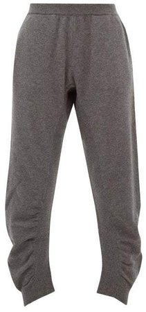 Ruched Wool Trousers - Womens - Grey