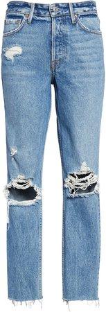 Karolina Ripped High Waist Ankle Skinny Jeans