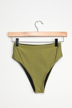 Olive Green Swimsuit - High-Waisted Bikini Bottoms - Swim Bottoms