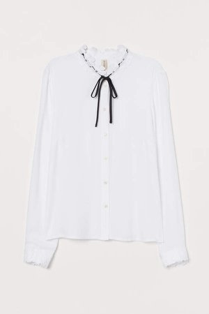 Tie-collar Blouse with Lace - White
