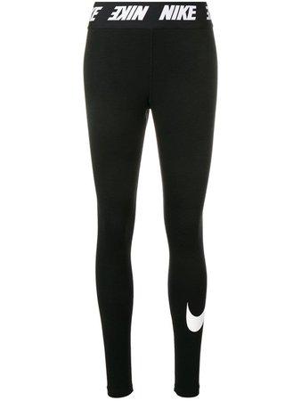 Black Nike Logo Waistband Leggings | Farfetch.com