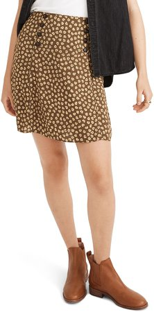 Woodcut Flowers Piped Miniskirt