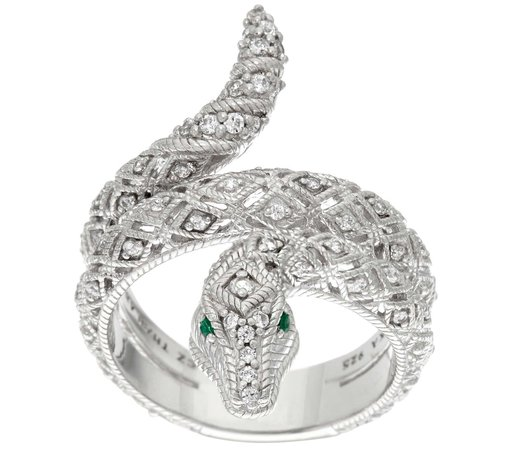bulgari silver snake ring emerald slytherin diamond grey green