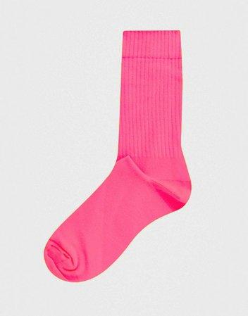 ASOS DESIGN sport socks in neon pink   ASOS