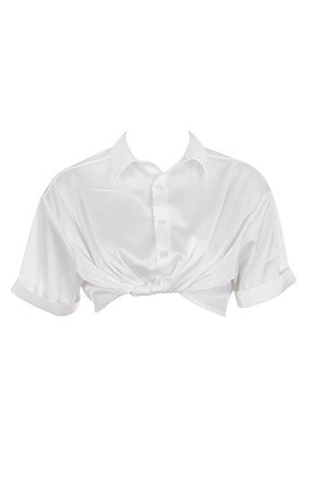 Clothing : Tops : 'Miguela' White Satin Cropped Shirt