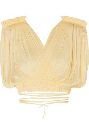 Elena Makri   Antigone cropped pleated silk-tulle wrap top   NET-A-PORTER.COM