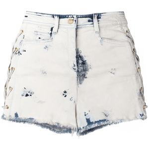 bleached lace-up denim shorts for $945.00 available on URSTYLE.com