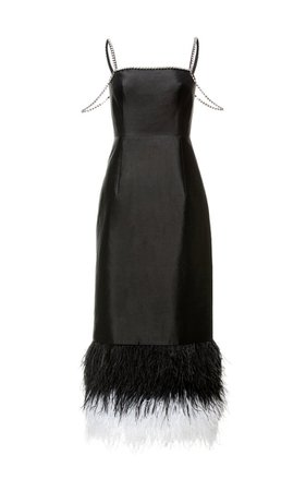 Astra Feather And Crystal-Trimmed Satin Midi Dress By Huishan Zhang   Moda Operandi