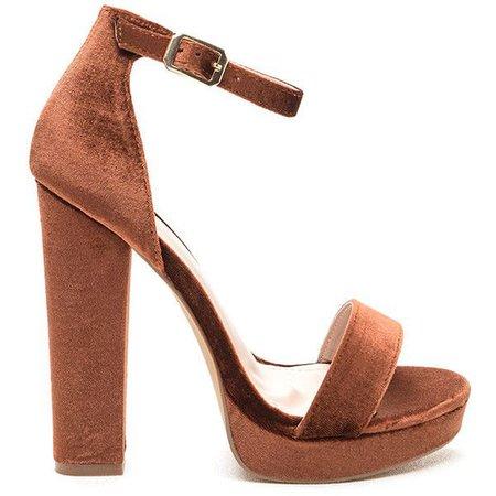 Brown Suede Ankle Strap Sandal Heels