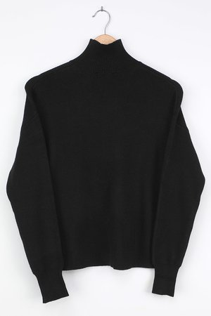 Black Turtleneck Sweater - Slouchy Sweater - Ribbed Sweater - Lulus