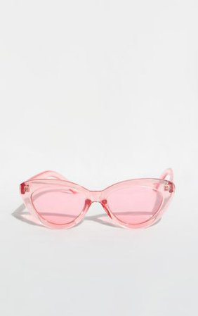 Clear Pink Cat Eye Sunglasses | Accessories | PrettyLittleThing