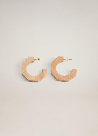 Wood hoop earrings - Women | Mango USA brown