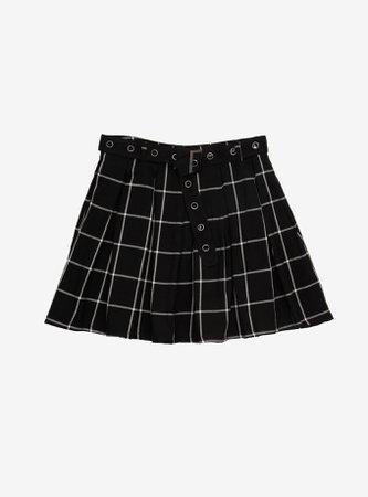 Black & White Plaid Pleated Skirt With Grommet Belt