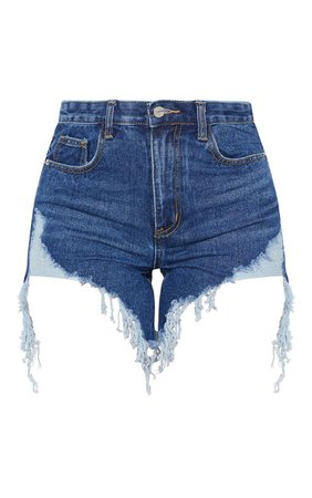 Dark Wash Longline Denim Shorts