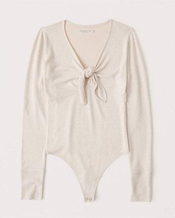 Women's Cozy Tie-Front Bodysuit | Women's New Arrivals | Abercrombie.com