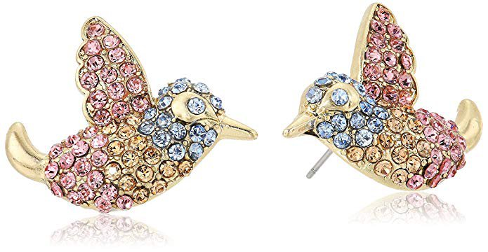 Betsey Johnson Pave Bird Button Stud Earrings: Clothing