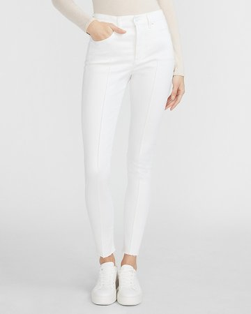 High Waisted Supersoft White Seamed Raw Hem Skinny Jeans
