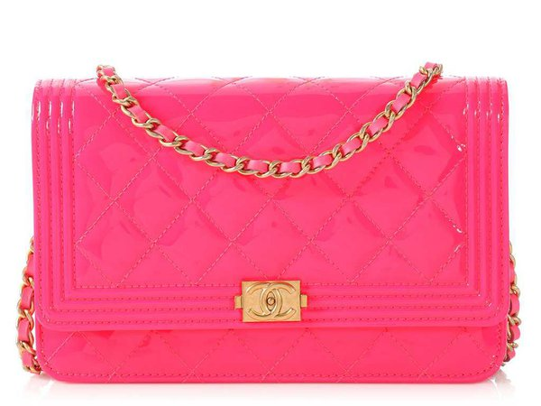 Chanel Neon Pink Boy Wallet on a Chain WOC - Ann's Fabulous Closeouts