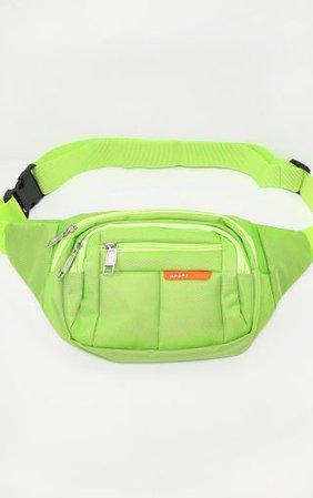 Lime Green Multi Zip Bum Bag   PrettyLittleThing