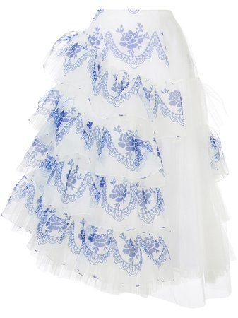 Shop white & blue Simone Rocha high-waisted ruffle skirt with Express Delivery - Farfetch