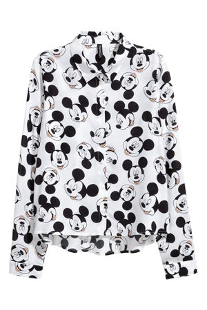 Patterned shirt - White/Mickey Mouse - Ladies | H&M GB