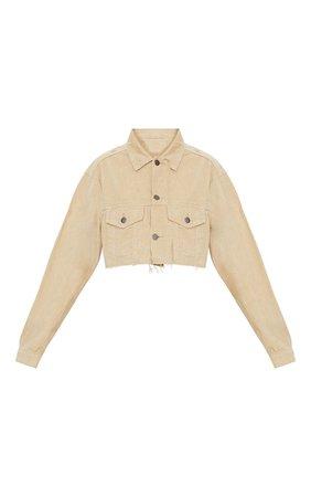 Stone Cropped Cord Jacket | Coats & Jackets | PrettyLittleThing USA