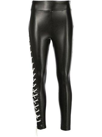 Monse side drawstring leather leggings