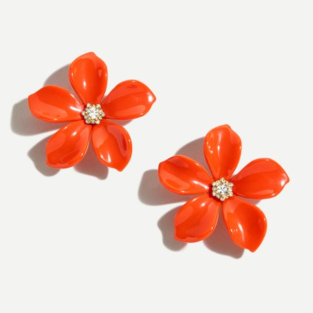 J.Crew: Acetate Flower Earrings With Pavé Detail For Women