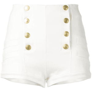 fitted white button up shorts