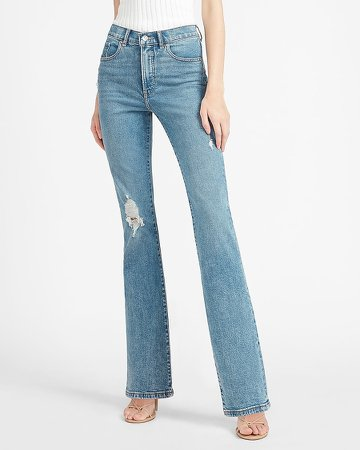 High Waisted Ripped Bootcut Jeans