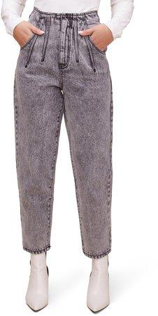 High Waist Pleat Front Crop Jeans