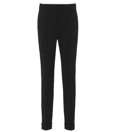 High-rise skinny stretch wool pants