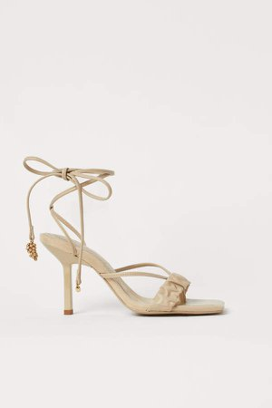 Tie-strap Sandals - Beige