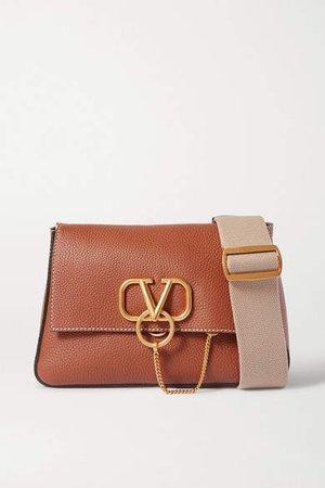 Garavani Vring Textured-leather Shoulder Bag - Brown