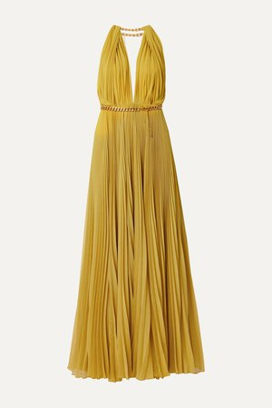 Saffron Chain-embellished pleated silk-chiffon gown | Oscar de la Renta | NET-A-PORTER