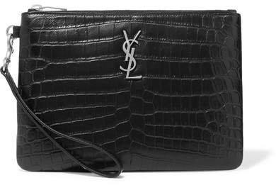 Monogramme Croc-effect Leather Pouch - Black