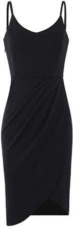 Zalalus Women's Elegant Spaghetti Straps Deep V Neck Sleeveless Bodycon Party Dress at Amazon Women's Clothing store