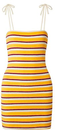 Striped Cotton-blend Terry Mini Dress - Yellow