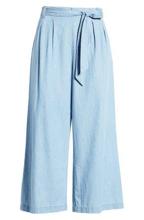 Caslon® Tie Waist Chambray Crop Pants | Nordstrom