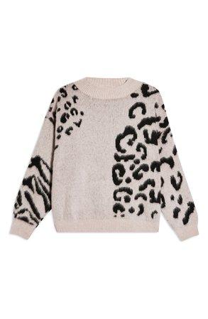 Topshop Animal Print Crewneck Sweater | Nordstrom