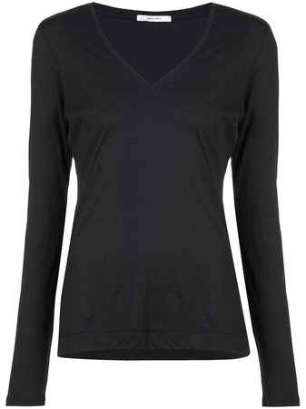 Pima Cotton Long Sleeve V-Neck T-shirt – Adam Lippes
