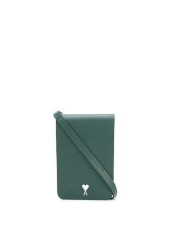 Green AMI small leather accordion bag - Farfetch