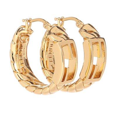 Fendi - Baguette Medium hoop earrings | Mytheresa