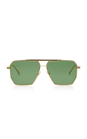 Bottega Veneta Square-Frame Aviator Metal Sunglasses