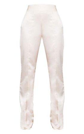 Cream Satin Straight Leg Pants