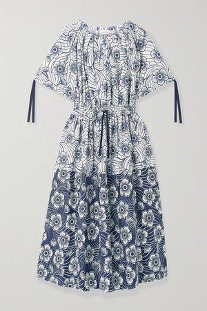 Floral-print Cotton-poplin Midi Dress - Navy