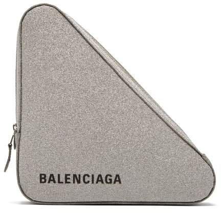 Triangle Pochette M Glittered Leather Clutch - Womens - Silver