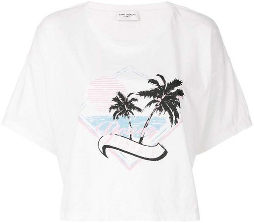 cropped palm print T-shirt