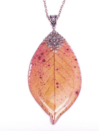 Woodland resin necklace Real leaf necklace Botanic necklace Real ...