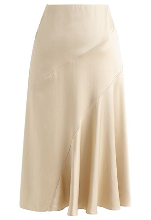 Frill Hem Midi Skirt in Gold - Retro, Indie and Unique Fashion